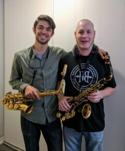Jeff Miguel with alto saxophone student, Kevin.